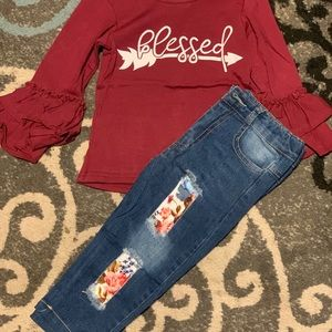 Little Girls blessed shirt and jeans